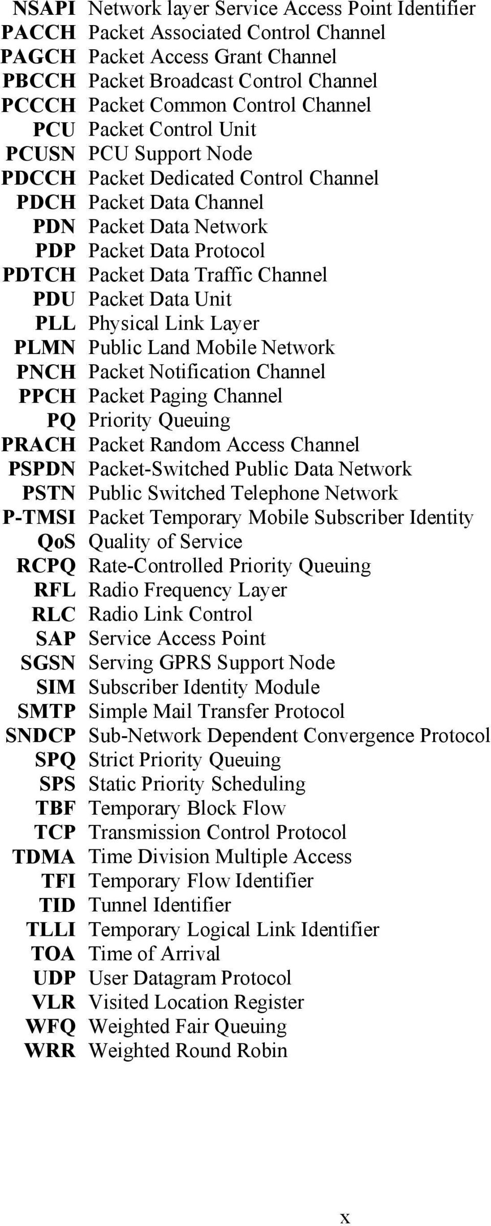 Channel PDU Packet Data Unit PLL Physical Link Layer PLMN Public Land Mobile Network PNCH Packet Notification Channel PPCH Packet Paging Channel PQ Priority Queuing PRACH Packet Random Access Channel