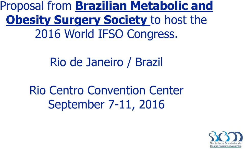 World IFSO Congress.
