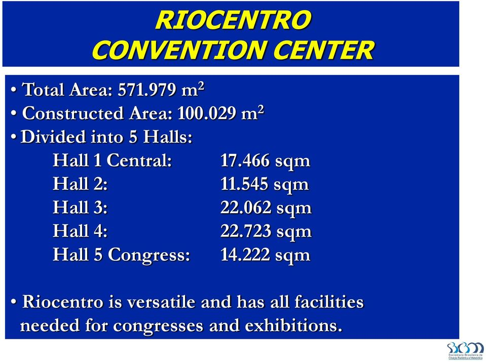 545 sqm Hall 3: 22.062 sqm Hall 4: 22.723 sqm Hall 5 Congress: 14.