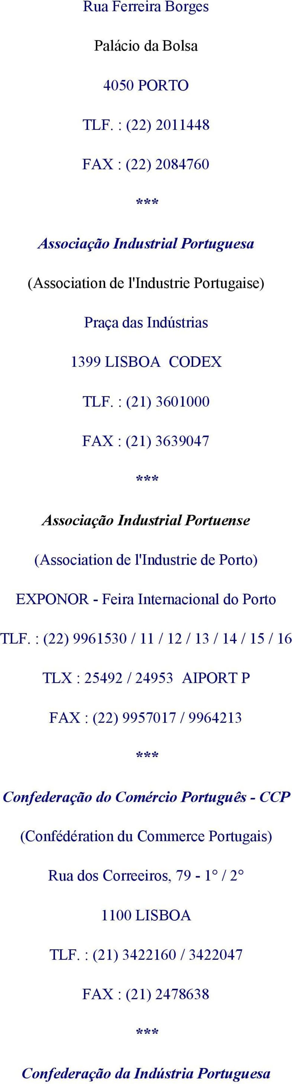 : (21) 3601000 FAX : (21) 3639047 Associação Industrial Portuense (Association de l'industrie de Porto) EXPONOR - Feira Internacional do Porto TLF.