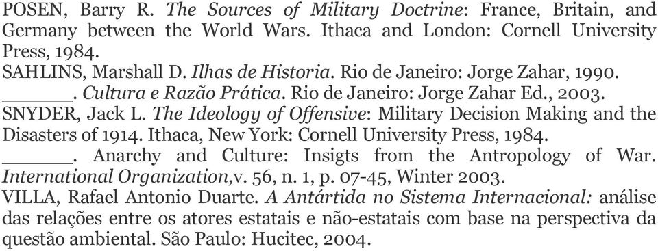 The Ideology of Offensive: Military Decision Making and the Disasters of 1914. Ithaca, New York: Cornell University Press, 1984.. Anarchy and Culture: Insigts from the Antropology of War.