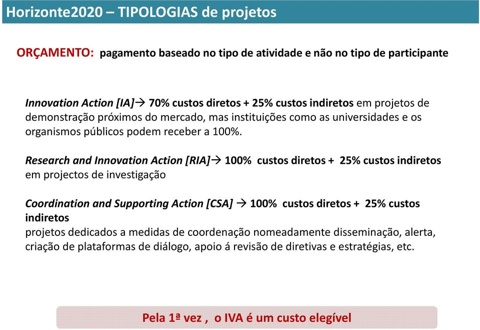 Research andinnovationaction[ria]100% custos diretos + 25% custos indiretos em projectos de investigação CoordinationandSupportingAction[CSA] 100% custos diretos + 25% custos