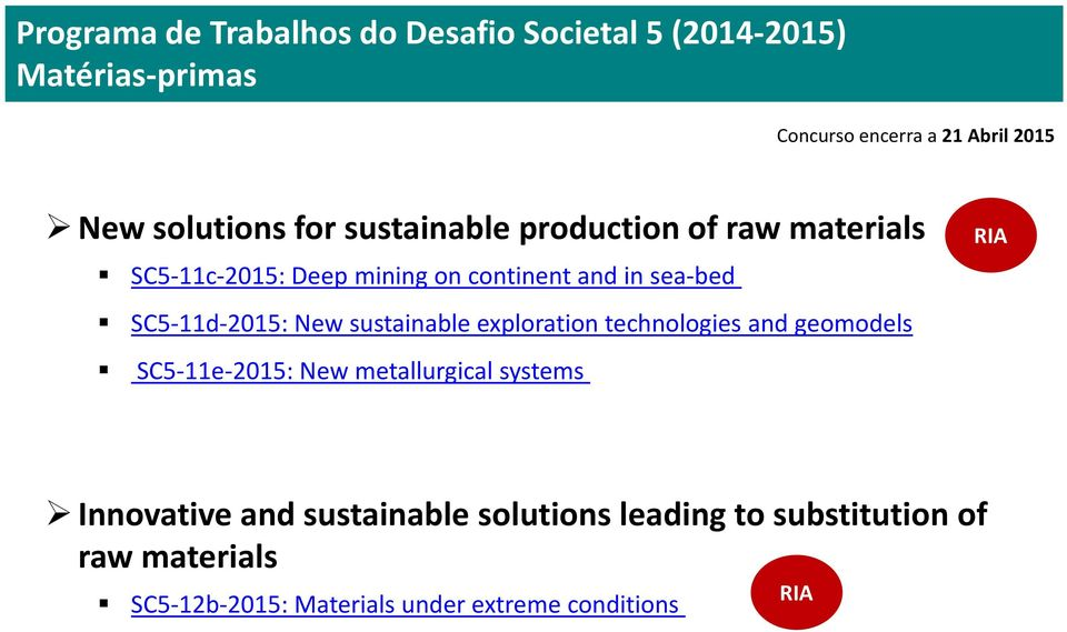 SC5-11d-2015: New sustainable exploration technologies and geomodels SC5-11e-2015: New metallurgical systems RIA
