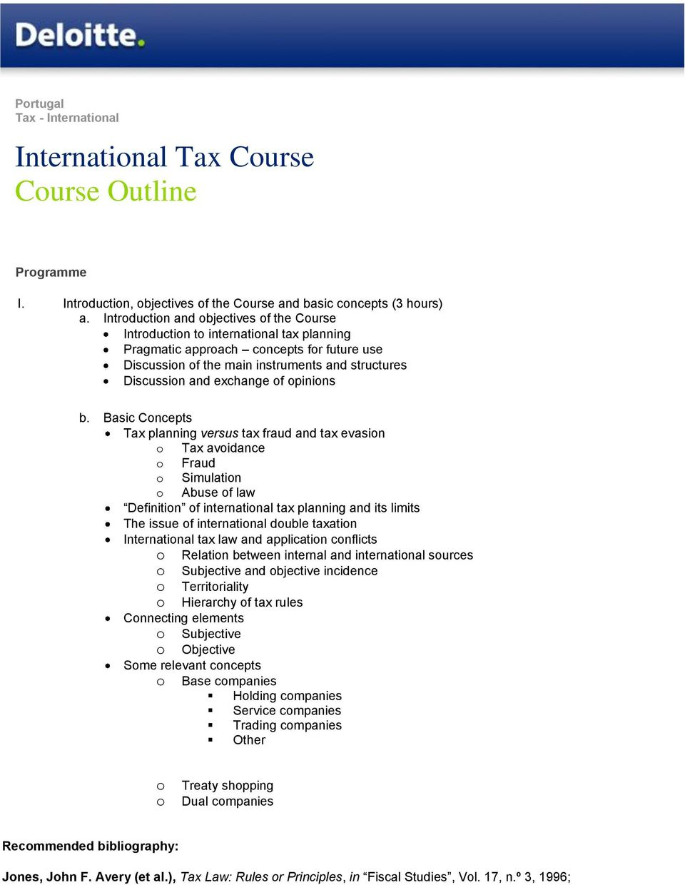 Basic Cncepts Tax planning versus tax fraud and tax evasin Tax avidance Fraud Simulatin Abuse f law Definitin f internatinal tax planning and its limits The issue f internatinal duble taxatin