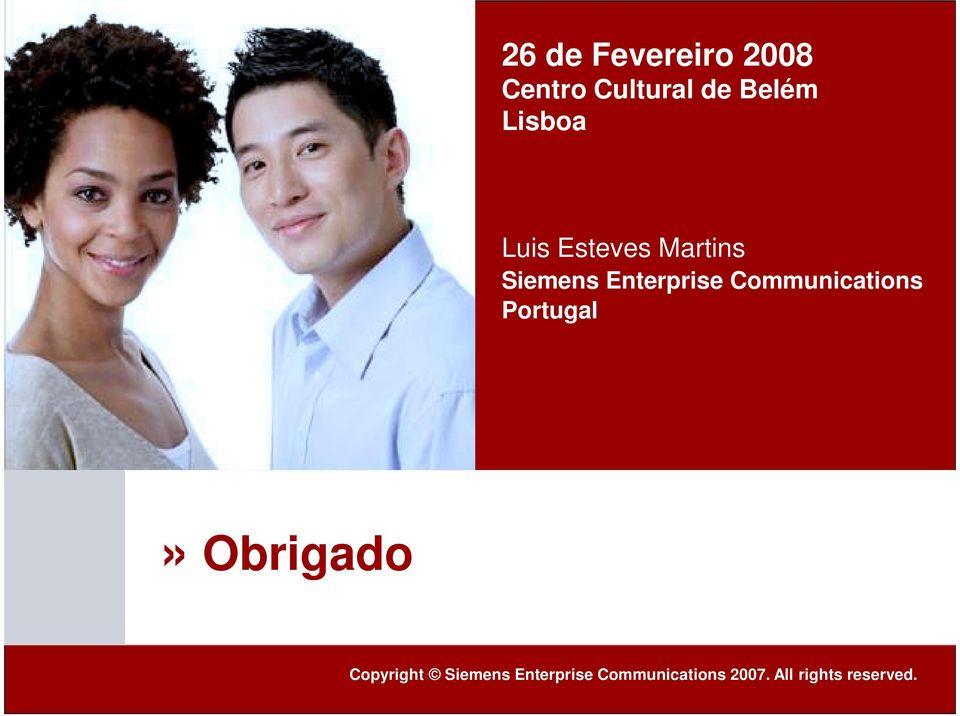 Communications Portugal» Obrigado Page 15 Copyright