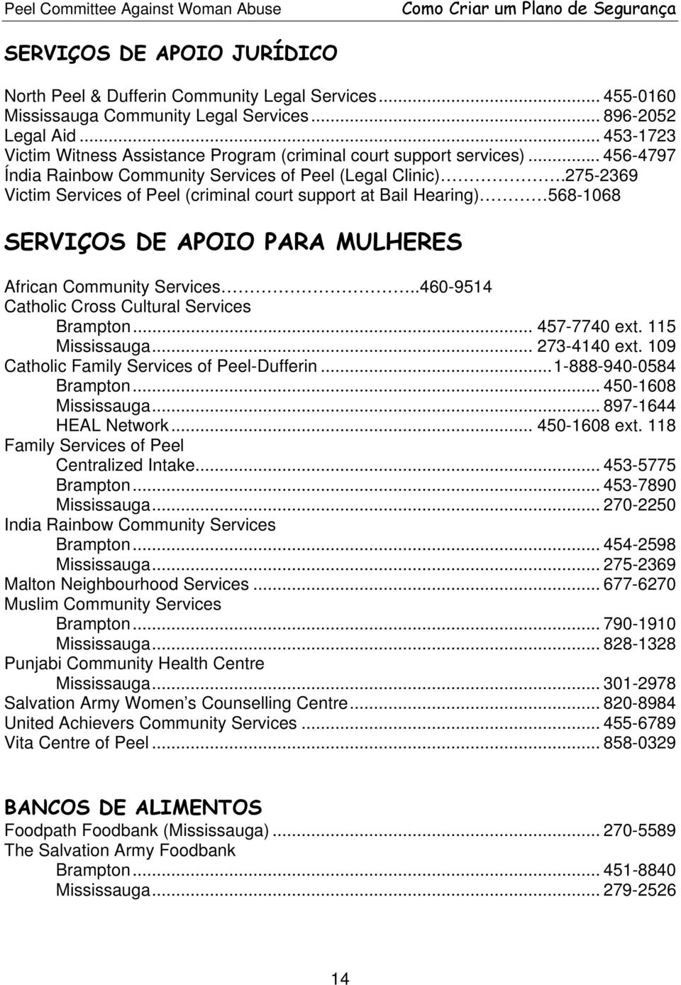 275-2369 Victim Services of Peel (criminal court support at Bail Hearing) 568-1068 SERVIÇOS DE APOIO PARA MULHERES African Community Services..460-9514 Catholic Cross Cultural Services Brampton.