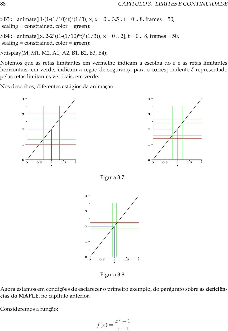 . 8, frames = 50, scaling = constrained, color = green): >display(m,m1, M2, A1, A2, B1,B2,B3, B4); Notemos que as retas limitantes em vermelho indicam a escolha do ε e as retas limitantes