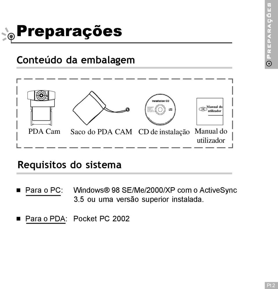 utilizador Requisitos do sistema Para o PC: Windows 98 SE/Me/2000/XP com
