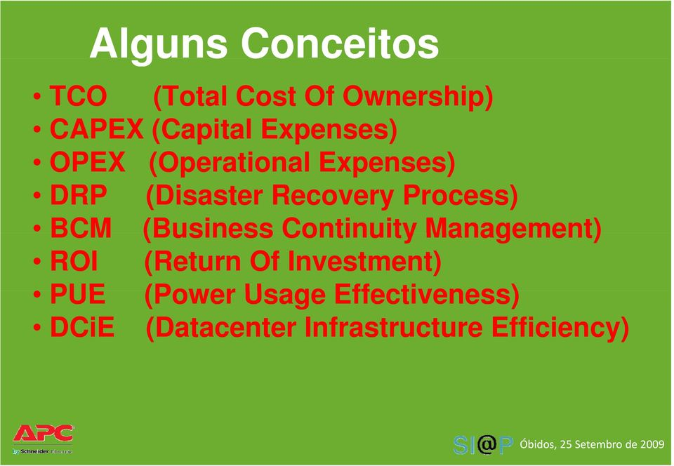 Process) BCM (Business Continuity Management) ROI (Return Of