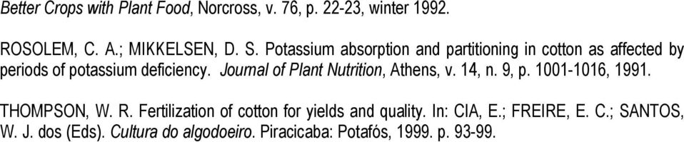 Journal of Plant Nutrition, Athens, v. 14, n. 9, p. 1001-1016, 1991. THOMPSON, W. R.