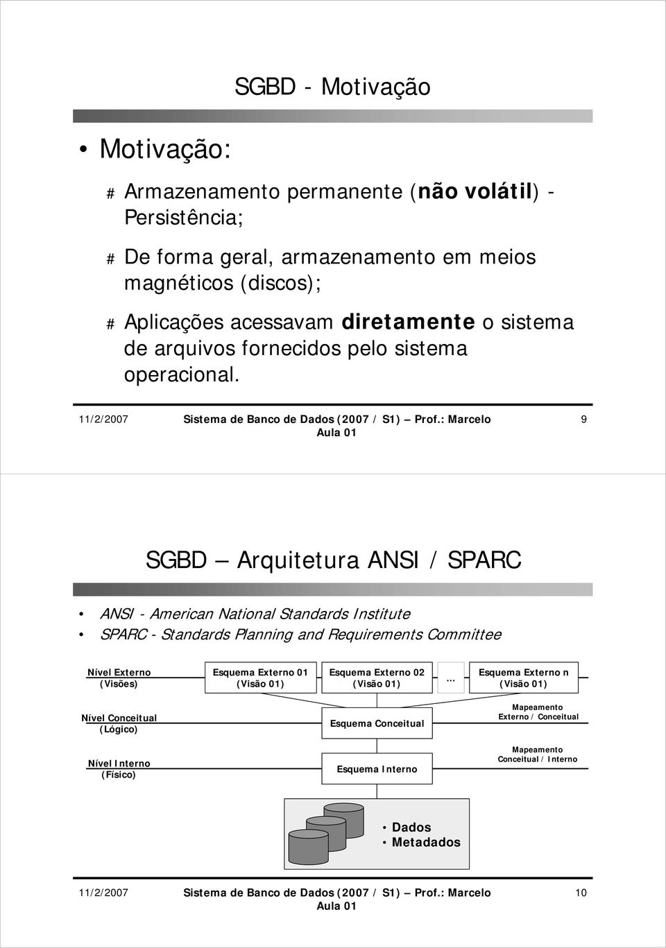 9 SGBD Arquitetura ANSI / SPARC ANSI - American National Standards Institute SPARC - Standards Planning and Requirements Committee Nível Externo (Visões) Esquema