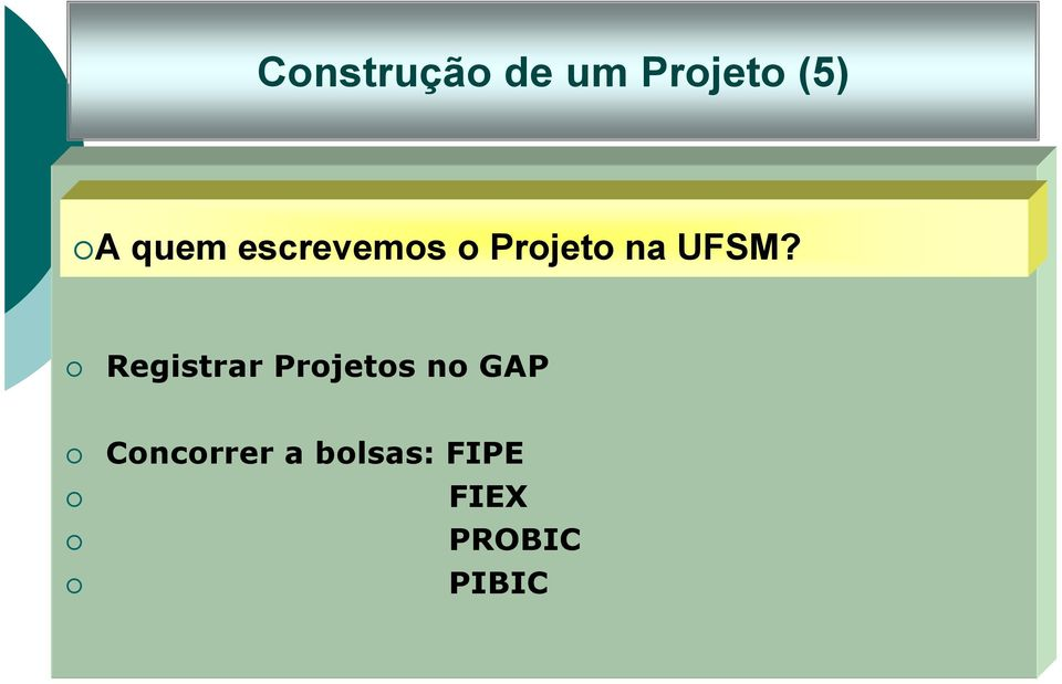 Registrar Projetos no GAP