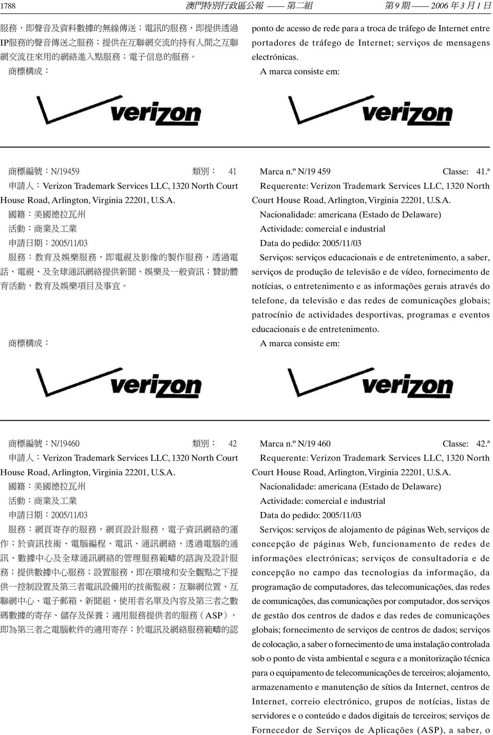 商 標 編 號 :N/19459 類 別 : 41 申 請 人 :Verizon Trademark Services LLC, 1320 North Court House Road, Ar
