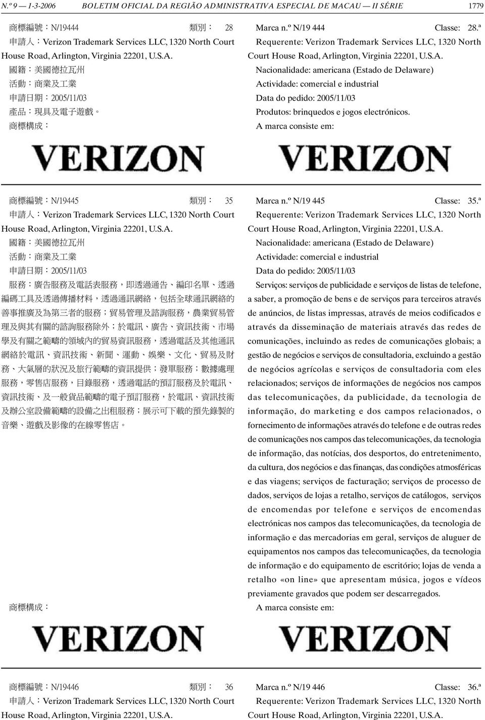ª Requerente: Verizon Trademark Services LLC, 1320 North Court House Road, Arlington, Virginia 22201, U.S.A. Nacionalidade: americana (Estado de Delaware) Data do pedido: 2005/11/03 Produtos: brinquedos e jogos electrónicos.