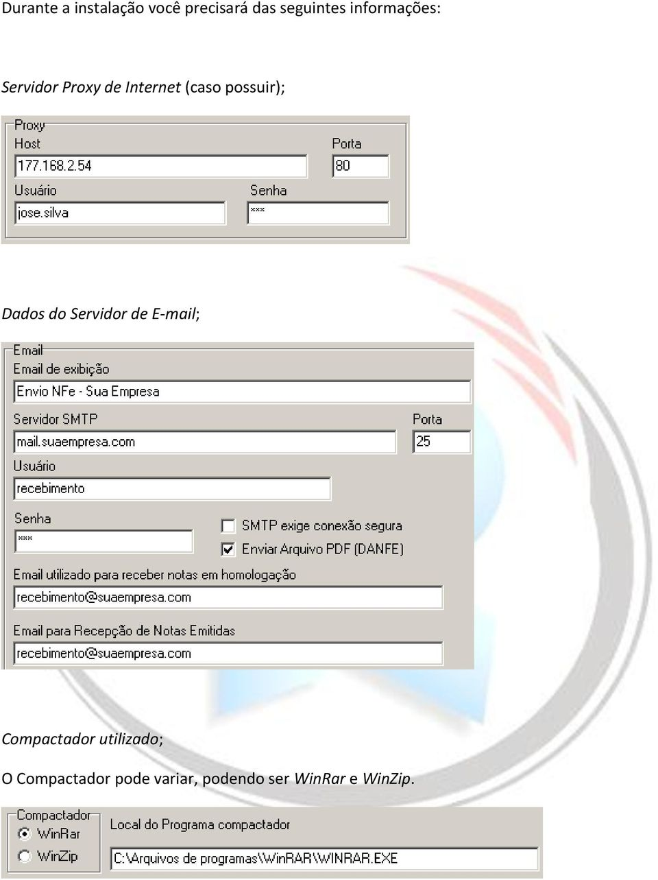 possuir); Dados do Servidor de E-mail; Compactador