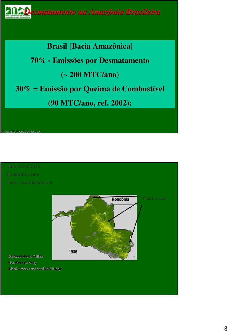 2002): Fonte: : INPE PRODES Digital, 2004. Deforestation in Rondonia State 1986: ~2.