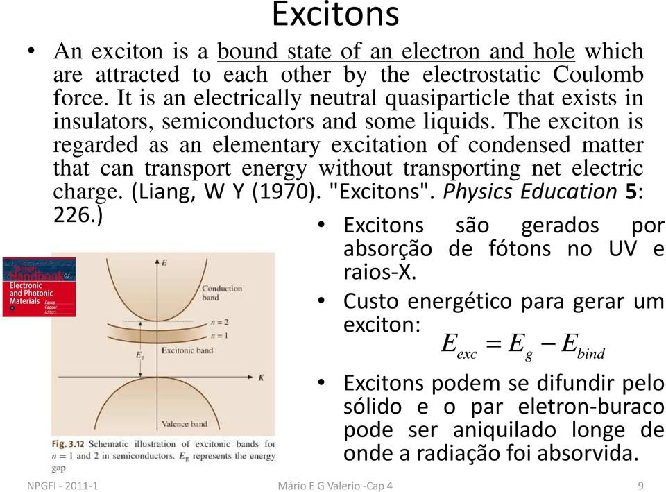"The exciton is regarded as an elementary excitation of condensed matter that can transport energy without transporting net electric charge. (Liang, W Y (1970). ""Excitons""."