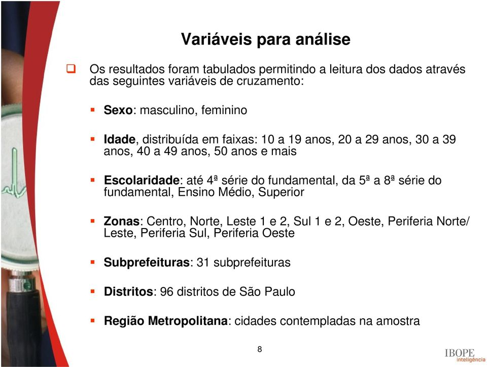 fundamental, da 5ª a 8ª série do fundamental, Ensino Médio, Superior Zonas: Centro, Norte, Leste 1 e 2, Sul 1 e 2, Oeste, Periferia Norte/ Leste,