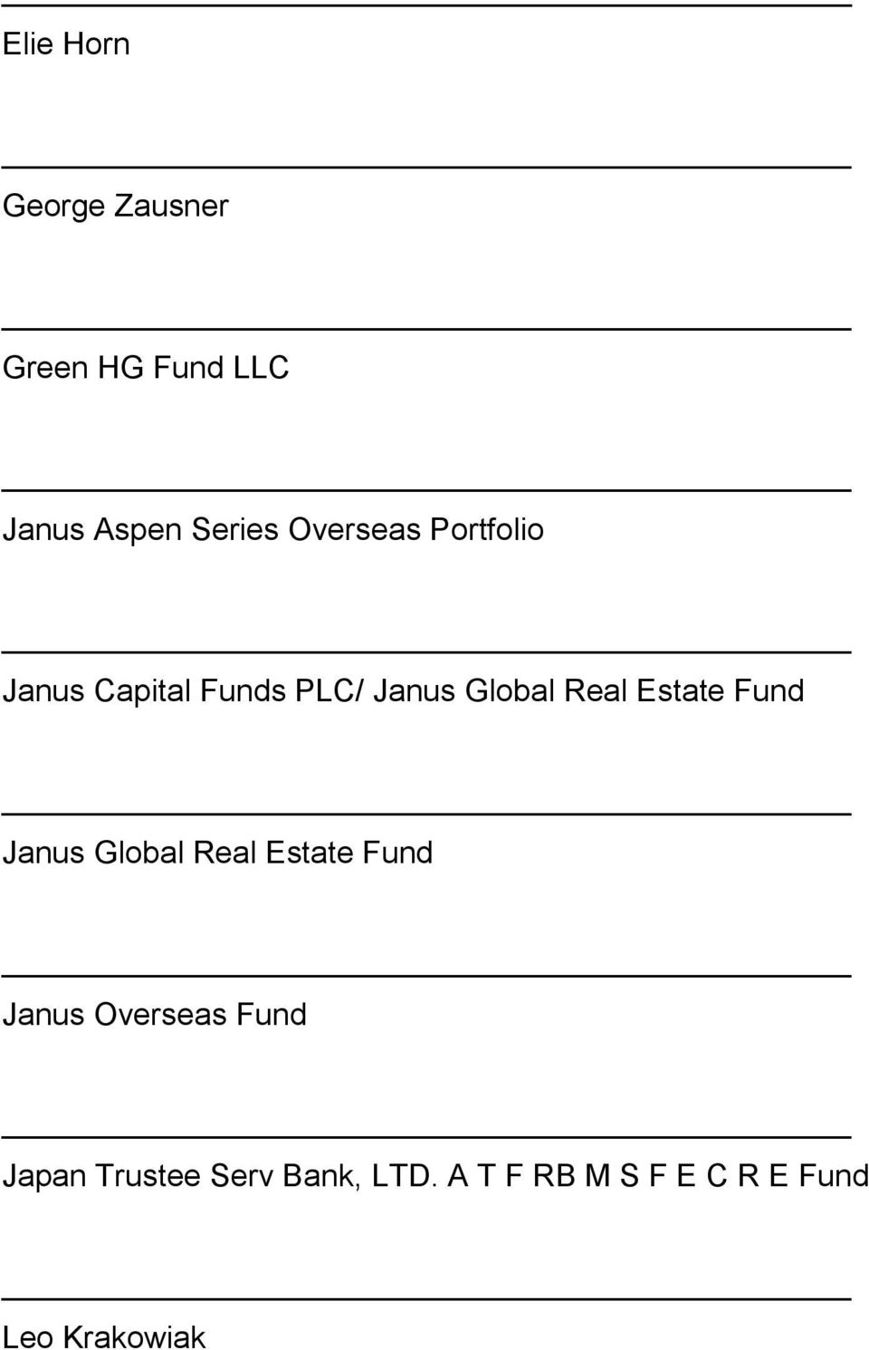 Estate Fund Janus Global Real Estate Fund Janus Overseas Fund