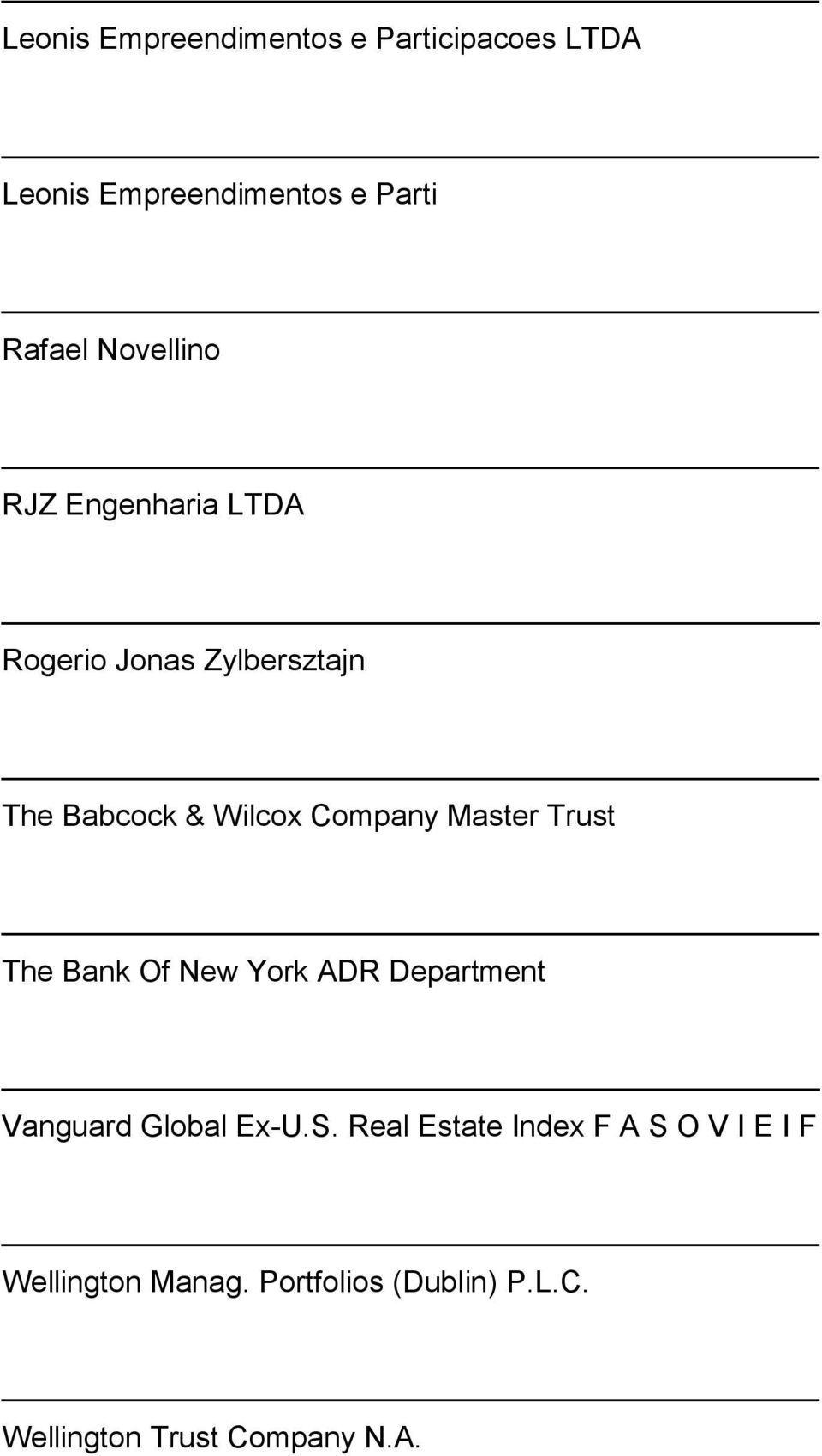 Master Trust The Bank Of New York ADR Department Vanguard Global Ex-U.S.
