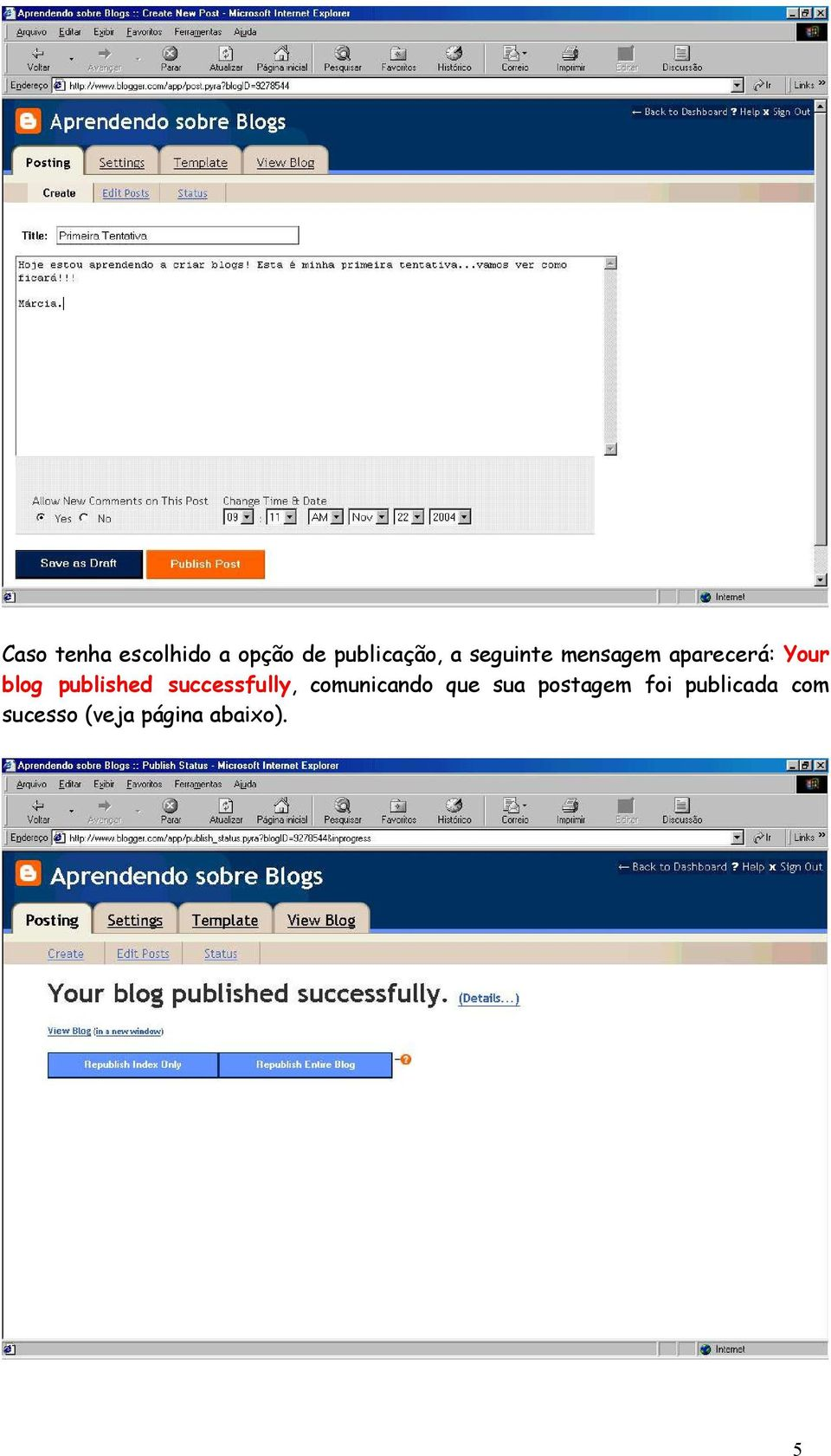published successfully, comunicando que sua