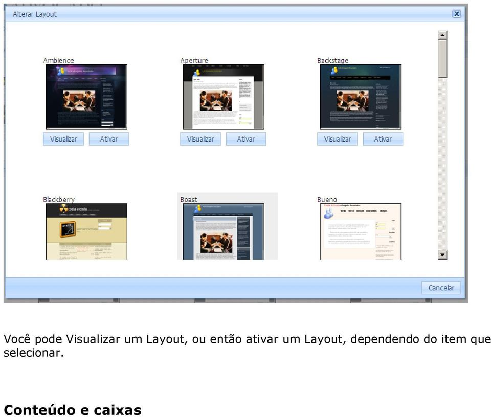 Layout, dependendo do item