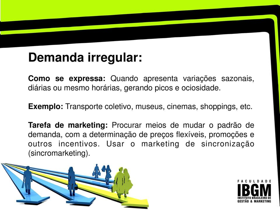 Exemplo: Transporte coletivo, museus, cinemas, shoppings, etc.
