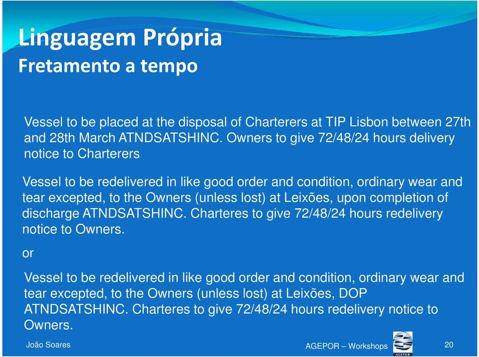 (unless lost) at Leixões, upon completion of discharge ATNDSATSHINC. Charteres to give 72/48/24 hours redelivery notice to Owners.