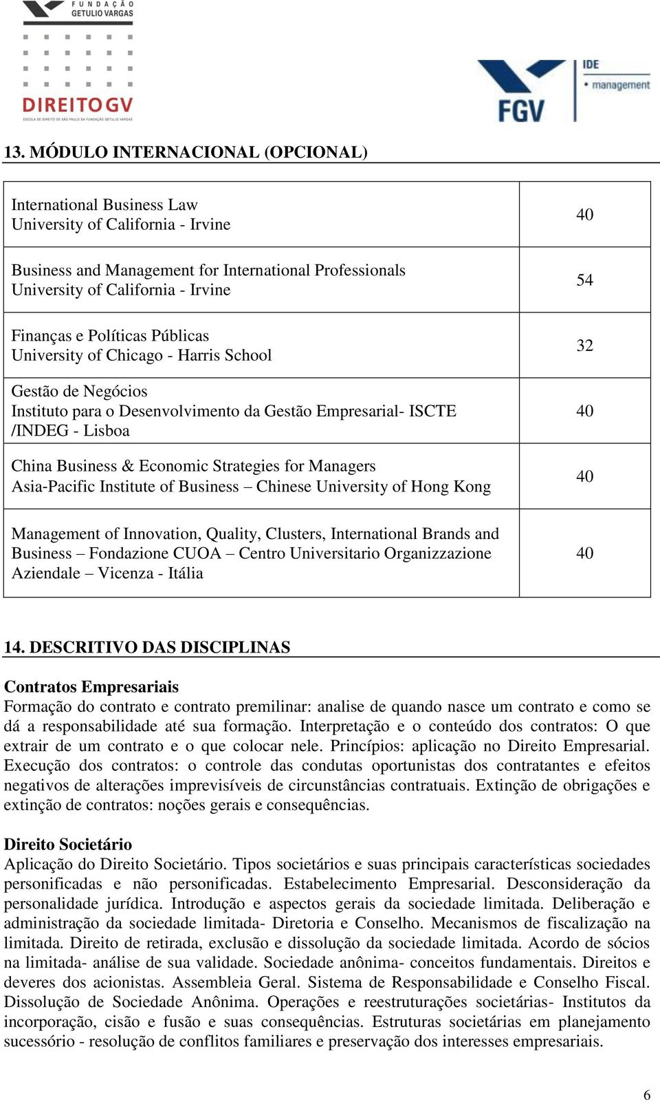Managers Asia Pacific Institute of Business Chinese University of Hong Kong 40 54 32 40 40 Management of Innovation, Quality, Clusters, International Brands and Business Fondazione CUOA Centro