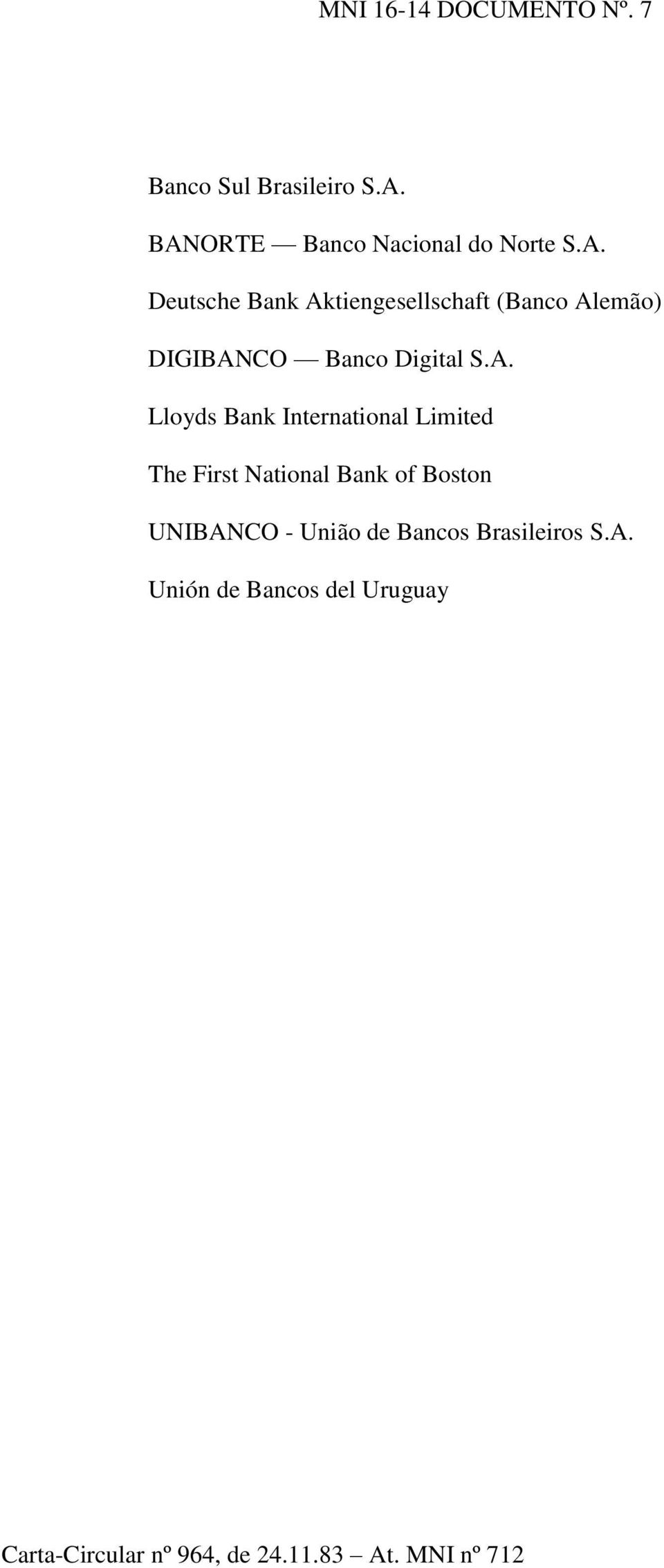 A. Lloyds Bank International Limited The First National Bank of Boston UNIBANCO - União