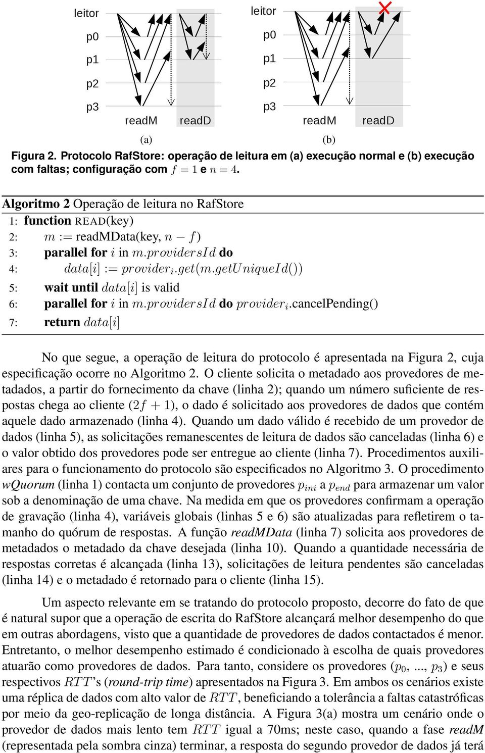Algoritmo 2 Operação de leitura no RafStore 1: function READ(key) 2: m := readmdata(key, n f) 3: parallel for i in m.providersid do 4: data[i] := provider i.get(m.