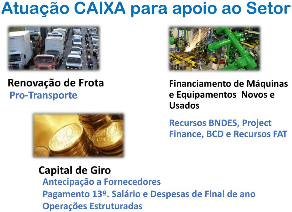 Project Finance, BCD e Recursos FAT Capital de Giro Antecipação a