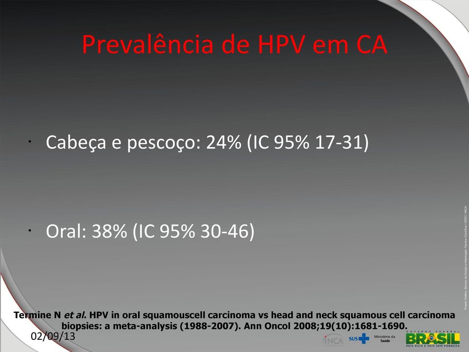 HPV in oral squamouscell carcinoma vs head and neck squamous