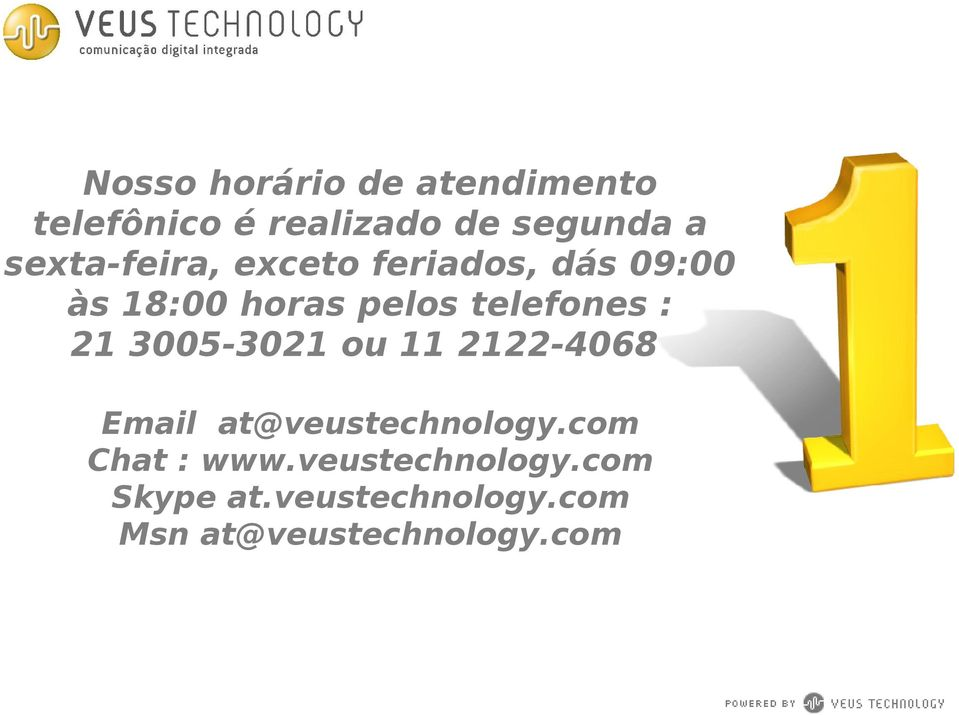 telefones : 21 3005-3021 ou 11 2122-4068 Email at@veustechnology.