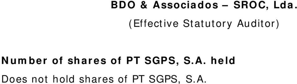 Number of shares of PT SGPS, S.A.