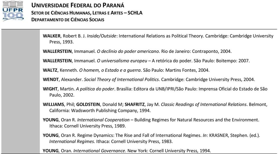 São Paulo: Martins Fontes, 2004. WENDT, Alexander. Social Theory of International Politics. Cambridge: Cambridge University Press, 2004. WIGHT, Martin. A política do poder.