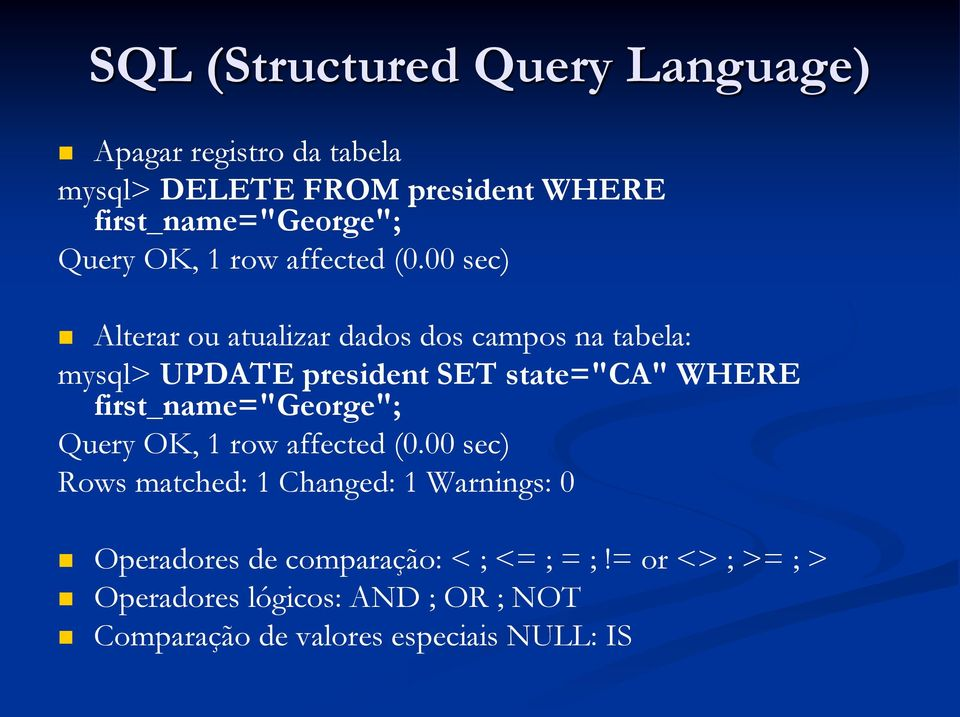 "first_name=""george""; Query OK, 1 row affected (0."