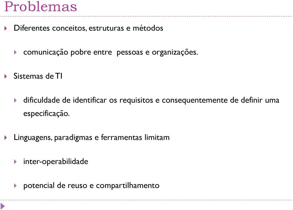 Sistemas de TI dificuldade de identificar os requisitos e consequentemente