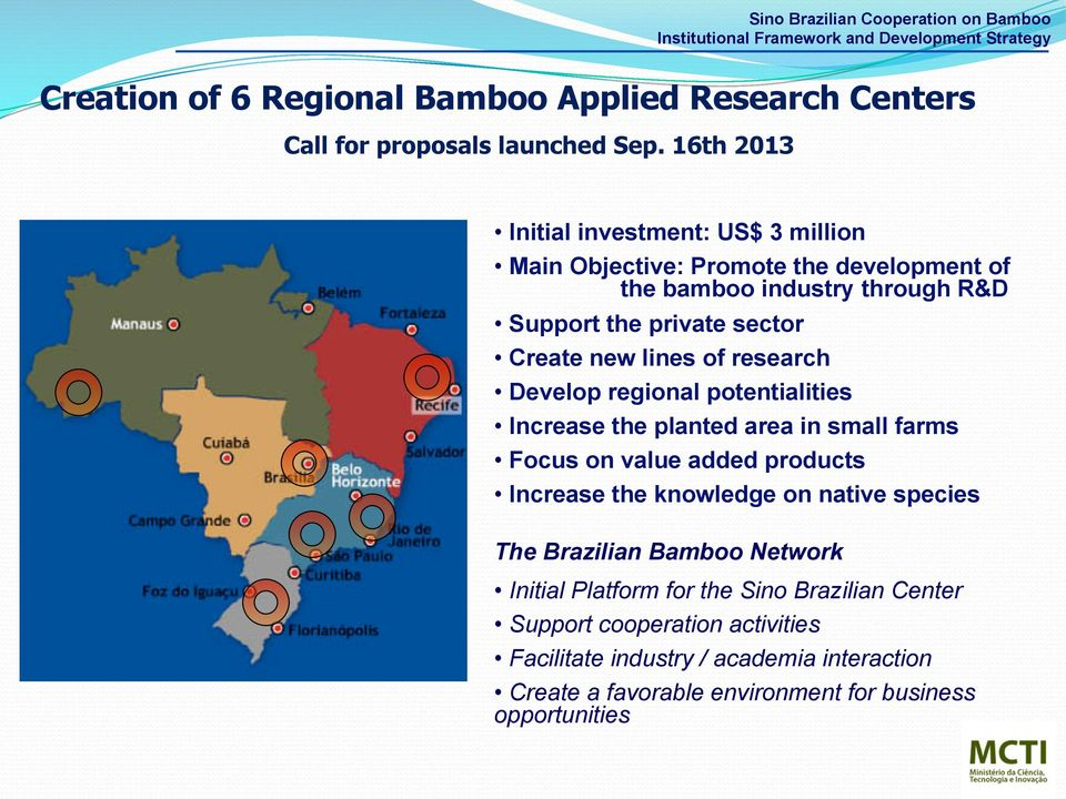 Develop regional potentialities Increase the planted area in small farms Focus on value added products Increase the knowledge on native species The Brazilian Bamboo Network