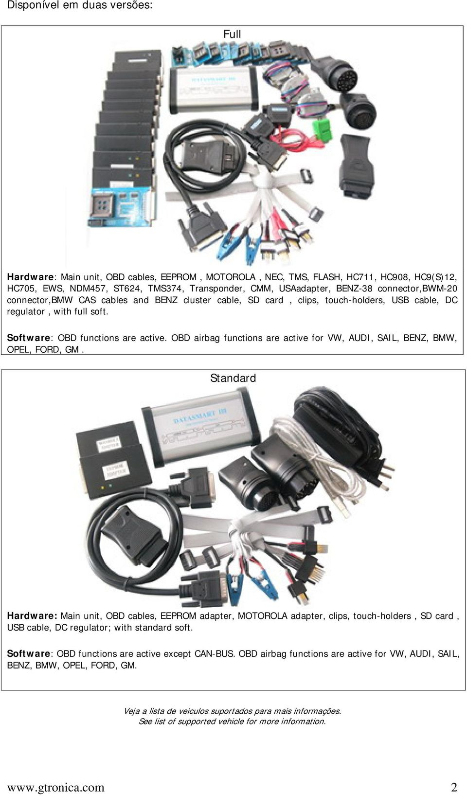 OBD airbag functions are active for VW, AUDI, SAIL, BENZ, BMW, OPEL, FORD, GM.