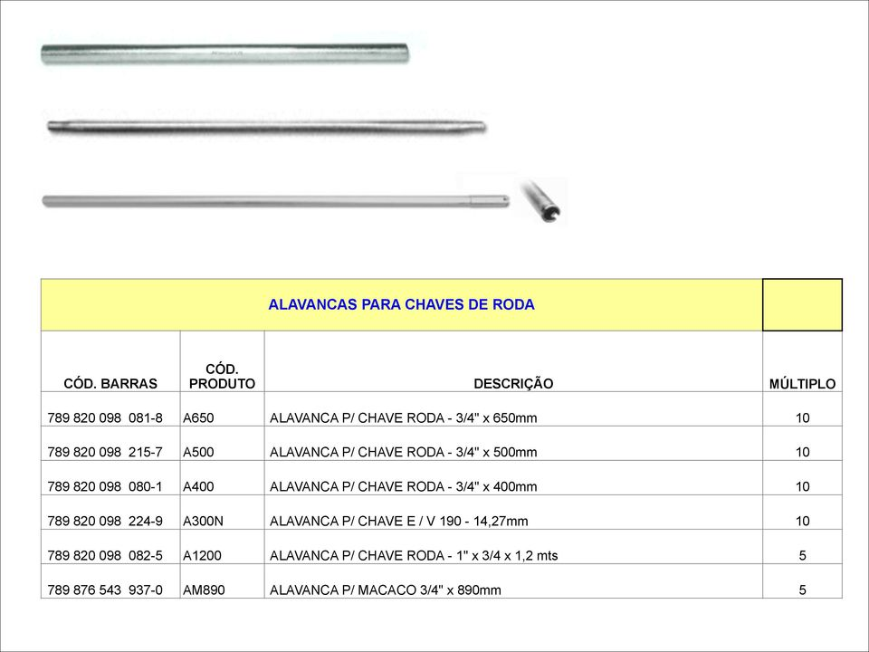 "RODA - 3/4"" x 400mm 10 789 820 098 224-9 A300N ALAVANCA P/ CHAVE E / V 190-14,27mm 10 789 820 098 082-5"