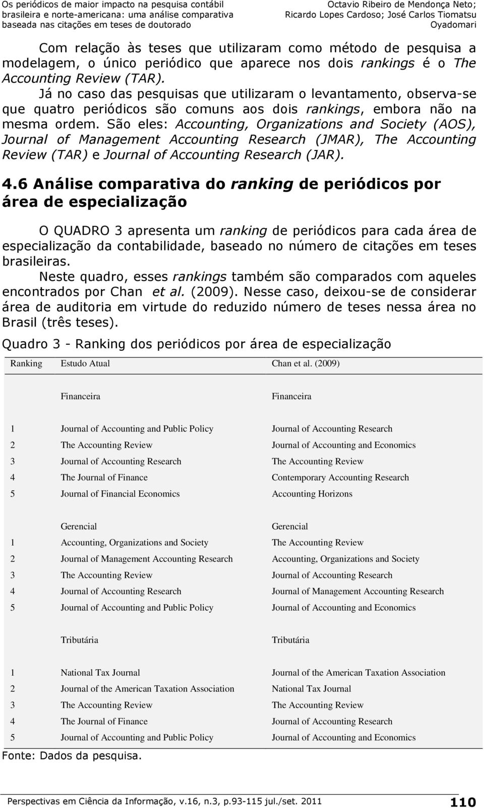 São eles: Accounting, Organizations and Society (AOS), Journal of Management Accounting Research (JMAR), The Accounting Review (TAR) e Journal of Accounting Research (JAR). 4.