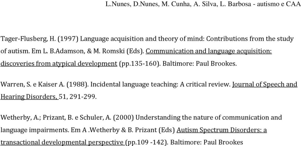 Incidental language teaching: A critical review. Journal of Speech and Hearing Disorders, 51, 291-299. Wetherby, A.; Prizant, B. e Schuler, A.