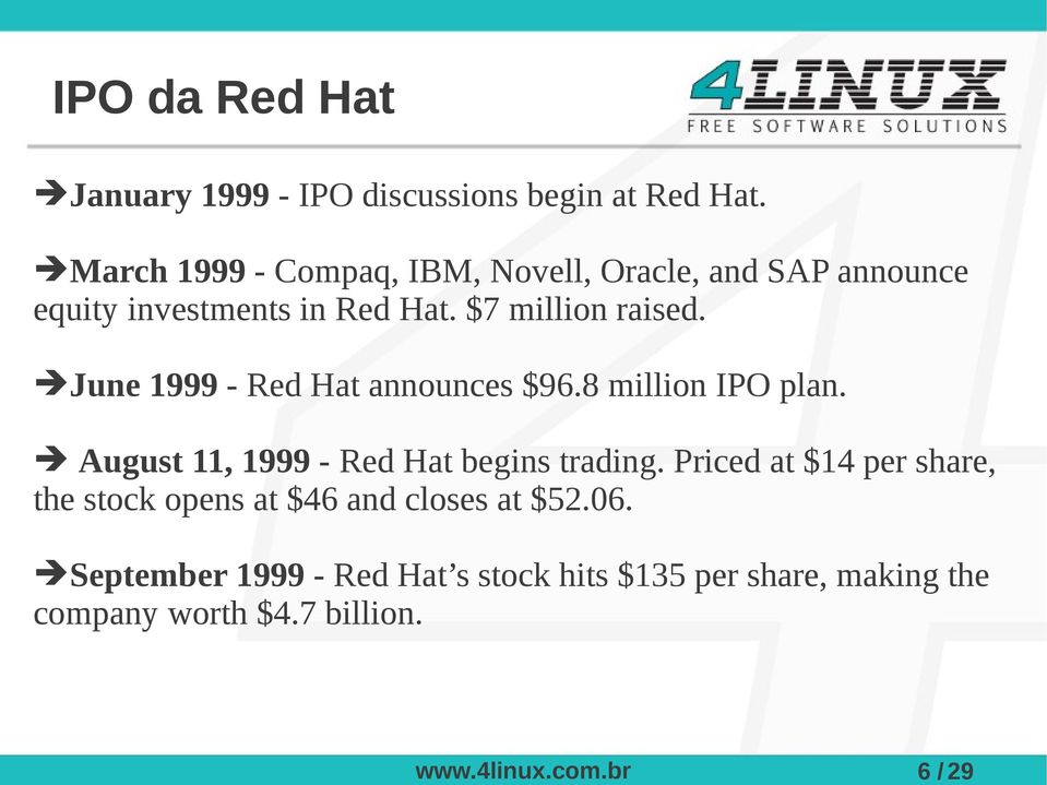 June 1999 - Red Hat announces $96.8 million IPO plan. August 11, 1999 - Red Hat begins trading.