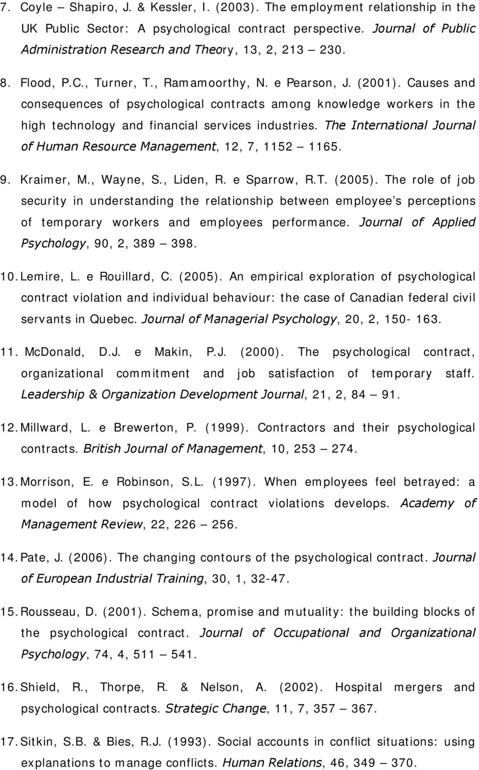 Causes and consequences of psychological contracts among knowledge workers in the high technology and financial services industries.
