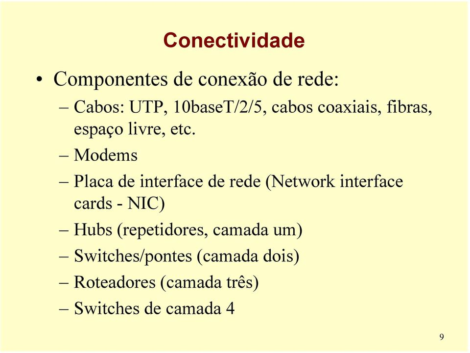 Modems Placa de interface de rede (Network interface cards - NIC) Hubs