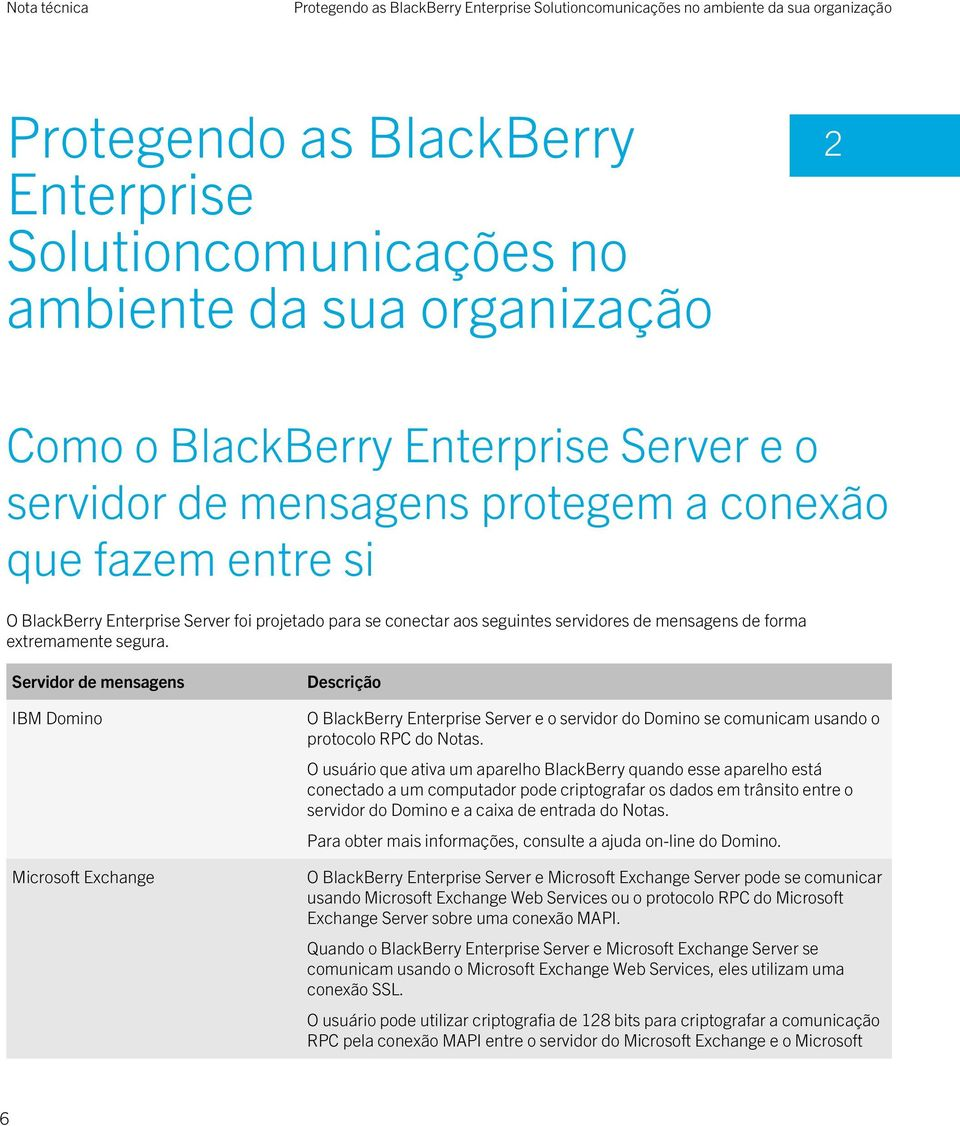 segura. Servidor de mensagens IBM Domino Microsoft Exchange Descrição O BlackBerry Enterprise Server e o servidor do Domino se comunicam usando o protocolo RPC do Notas.
