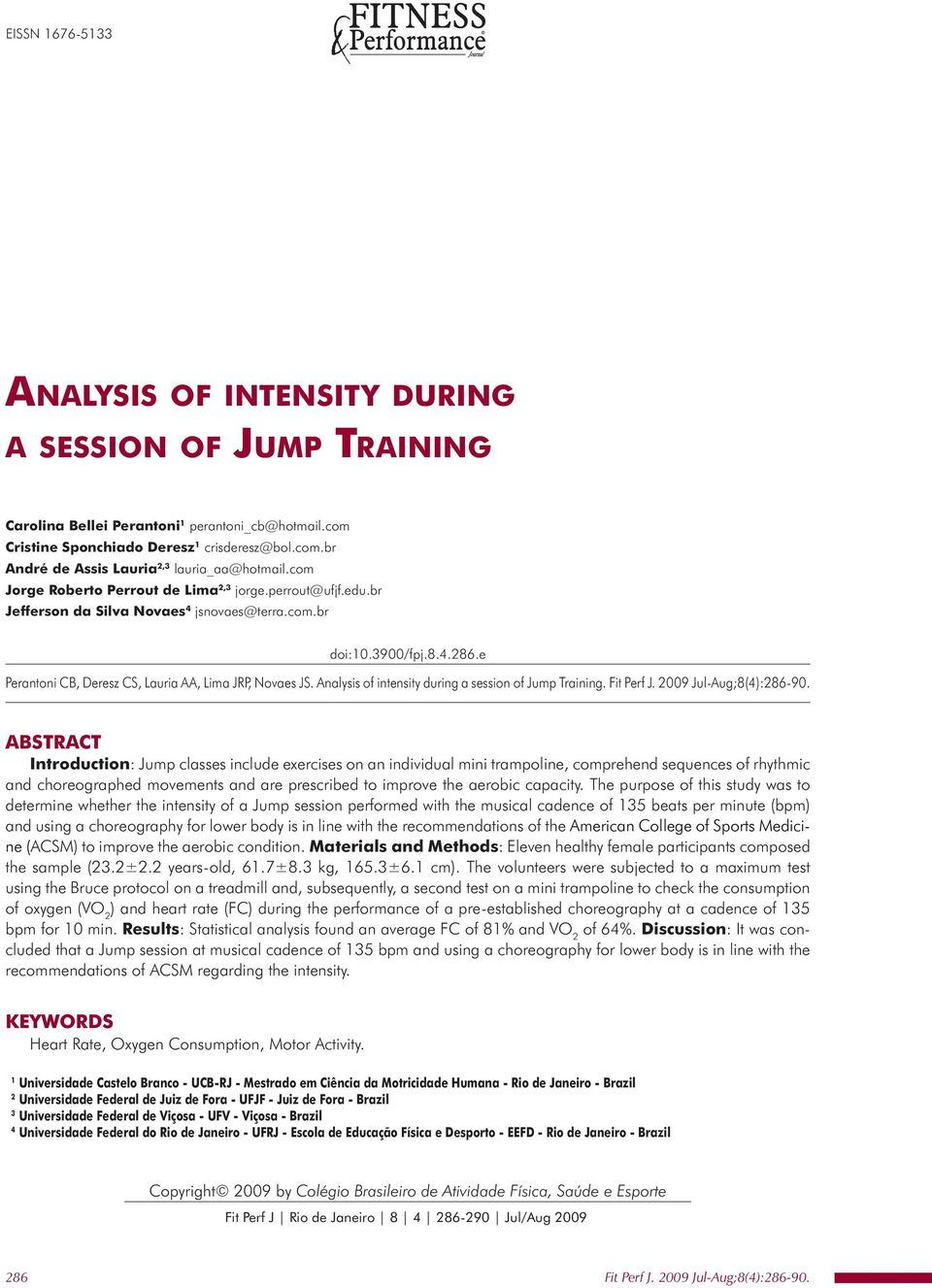 Analysis of intensity during a session of Jump Training.