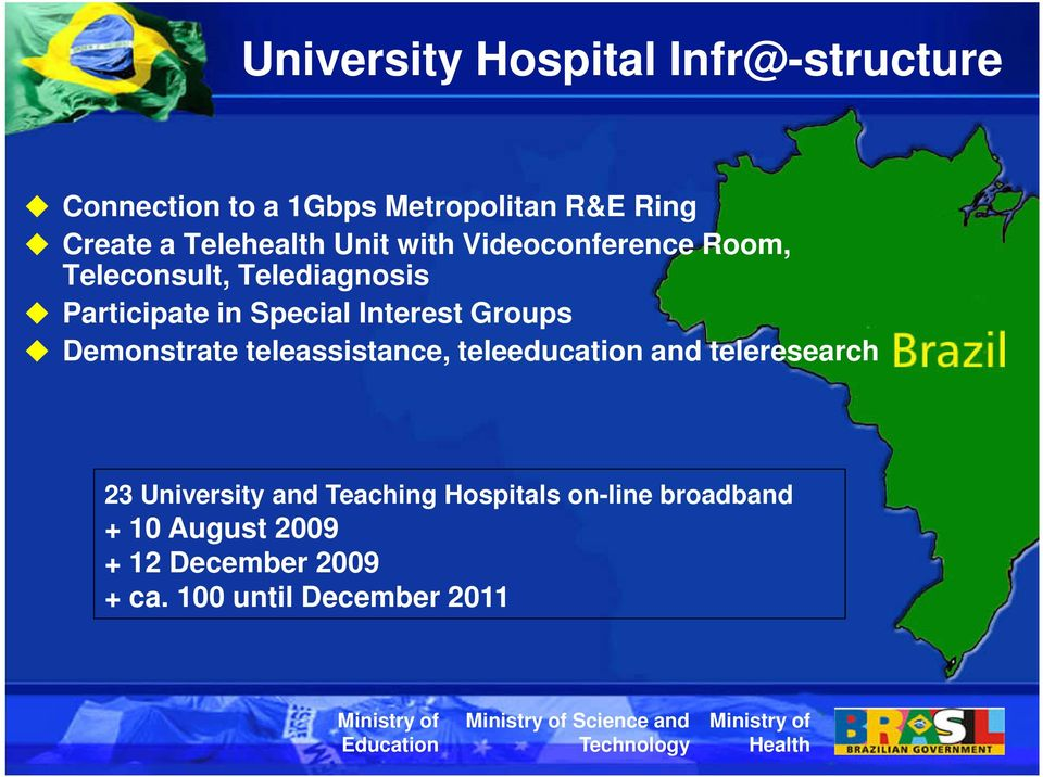 Demonstrate teleassistance, teleeducation and teleresearch 23 University and Teaching Hospitals