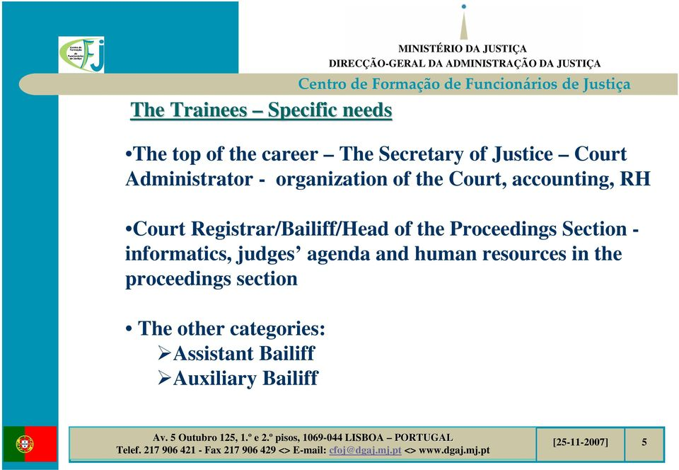 Registrar/Bailiff/Head of the Proceedings Section - informatics, judges agenda and